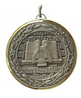 Diamond Edged Music Notes Silver Medal