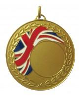 Union Jack Logo Insert Gold Brass Medal