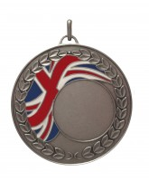 Union Jack Logo Insert Silver Brass Medal