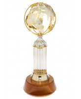 Daisy Silver and Gold Plated Metal Globe Award