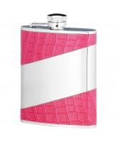 Rosebank Pink Leather Trim Hip Flask