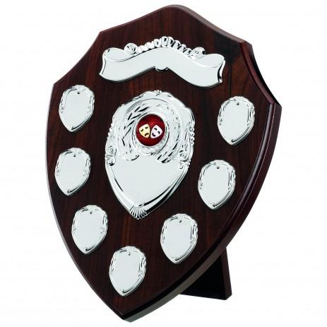 Classic Dark Cherry Wooden Veneer 7 Year Annual Shield