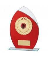 Draco Red Glitter Glass Logo Insert Trophy