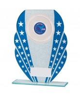 Tri-star Blue Glitter Glass Logo Insert Trophy