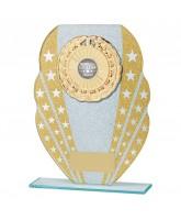 Tri-star Gold Glitter Glass Logo Insert Trophy