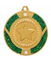 Green Glitter Star Logo Insert Gold Medal