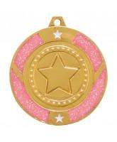 Pink Glitter Star Logo Insert Gold Medal