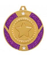 Purple Glitter Star Logo Insert Gold Medal