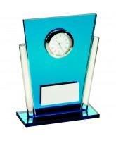 Blue Art Deco Glass Clock Award
