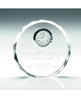 Circular Crystal Block Clock Award