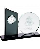 Clear and Black Crystal Clock Award