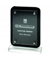Clear Glass & Back Wood Plaque