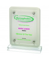 Clear Glass & White Wood Plaque Printed Full Colour
