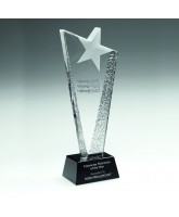 Jupiter Clear and Black Crystal Frosted Star Award